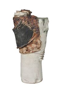 Attributed to Bernard Rooke, 'a tall stoneware vase', c.1970