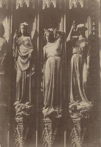 Jean-Louis-Henri Le Secq, 'Strasbourg (Bas-Rhin), cathédrale Notre Dame: portail de gauche, détail de trois Vertus terrassant les Vices', 1851/1851