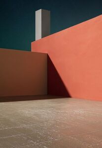 James Casebere, 'Courtyard with Orange Wall', 2017