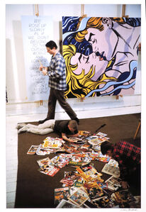 Dan Budnik, 'Roy Lichtenstein with his sons David and Mitchell, West 26th Street Studio, New York, 1964, with We Rose Up Slowly ', 1964