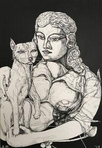 Adrian Wiszniewski, 'Woman with Cat', 2019