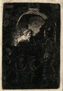 James Hazard after Rembrandt van Rijn, 'Woman at a Door Hatch Talking to a Man and Children (The Schoolmaster)', 1758-1787