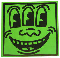 Keith Haring, 'Pop Shop Green Three Eyed Smiling Sticker', ca 1986