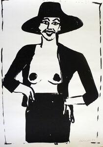 Otto Muehl, 'frau mit hut', 1984