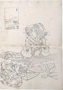 Teisai Sencho, 'Preparatory Drawing for print of Flourishing Scenes of the East: Yoshiwara, Onoyama of the Sugata-Ebiya', ca. 1830's