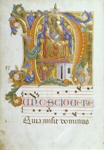 Cenni di Francesco di Ser Cenni, 'Initial N with Saint Peter Enthroned and the Liberation of Saint Peter', ca. 1380