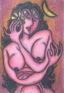 "Prokash Karmakar, 'Painting in Pastel of Sensous Nude Woman with a Flower, Indian Art ""In Stock"" by Modern Indian Artist Prokash Karmakar', 1997"