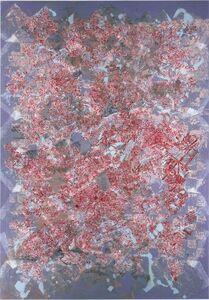 François Rouan, 'Mappe ambre brûlée sur gris violacé, 2003', 2003