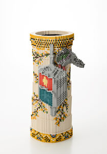 "Toshiya Masuda, 'Low pixel CG, Hommage - Cylindrical traffic light Pigeonwork cherry tree- The motif is ""Cloisonne lantern pigeon craft cherry blossoms""', 2018"