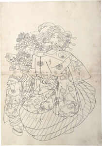 Teisai Sencho, 'Preparatory Drawing of an Oiran Wearing an Uchikage Decorated with Blossoms and Butterflies, with Two Kamuro', ca. 1830