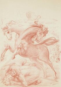 Aligi Sassu, 'Horses ', 1965
