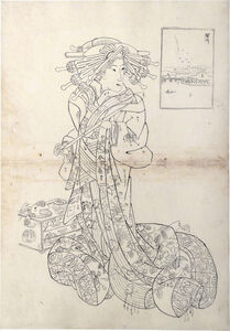 Teisai Sencho, 'Preparatory Drawing for print of Flourishing Scenes of the East: Fukagawa, Aimachi of the Sugata-Ebiya', 1830's