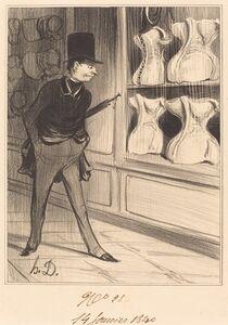 Honoré Daumier, 'C'est unique! j'ai pris quatre tailles...', 1840