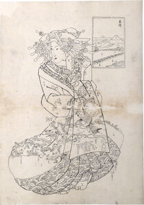 Teisai Sencho, 'Preparatory Drawing for print of Flourishing Scenes of the East: Takanawa, Emon of the Maru-Ebiya', 1830's