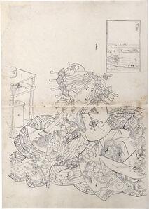 Teisai Sencho, 'Preparatory Drawing for print of Flourishing Scenes of the East: Susaki, Sugatano of the Sugata-Ebiya', ca. ca. 1830's