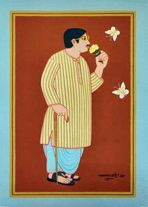 "Lalu Prasad Shaw, 'Bengali Babu, Tempera on Board, Red, Blue, Brown by Master Artist ""In Stock""', 2018"