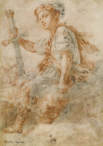 Domenico Fetti, 'David with the Head of Goliath (recto), Two Studies, one of a Woman (verso)', 1620