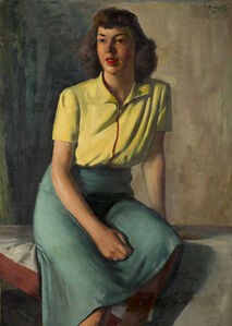 Ture Bengtz, 'Seated Woman in Blue Skirt', 1939