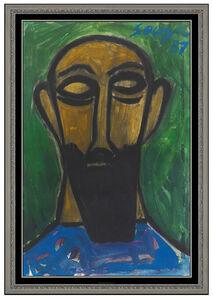 Francis Newton Souza, 'Francis Newton FN Souza Original Gouache Painting Signed Male Portrait RARE Art', 1987