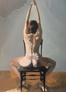 Ingrid Capozzoli Flinn, 'Nude Seated in Chair with Striped Shadow', 2016