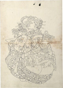 Teisai Sencho, 'Preparatory Drawing of an Oiran Wearing an Uchikage Decorated with Blossoming Plum, with Two Kamuro', ca. 1830
