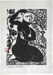 Shiko Munakata, 'Goddess with Falcon and Camellias', 1962