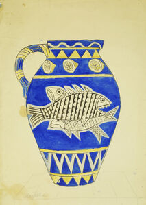 Marie Vorobieff Marevna, 'Vase decorated with fish on blue ground'