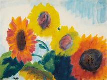Gelbe und rote Sonnenblumen