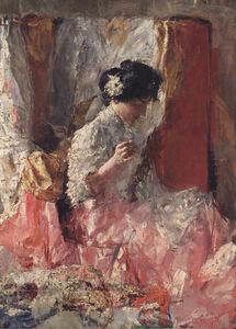 Antonio Mancini, 'The embroiderer', 1914