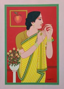 """Lalu Prasad Shaw, 'Biwi, Tempera on Board Red, Yellow, Green Colours by Modern Artist """"In Stock""""', 2019"""