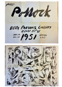 "Jackson Pollock, '""Jackson Pollock"", 1951, Betty Parsons Gallery NYC, Exhibition Invite/Poster, EXCELLENT+ + + CONDITION', 1951"