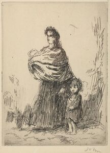Augustus John, 'A gypsy woman carrying a baby and holding a small child by the hand'