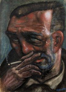 Peter Howson, 'Man Smoking', 1987
