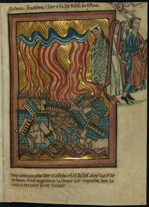 William de Brailes, 'Lot and his Family Flee Sodom (Genesis 19:15-26)', ca. 1250