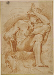 Domenico Maria Canuti, 'Sheet of Studies: A Seated Nude Man, A Youthful Head and a Caricature Head of a Man Playing a Pipe', 1669-1671