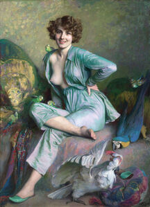 Émile Friant, 'The Familiar Birds', 1921