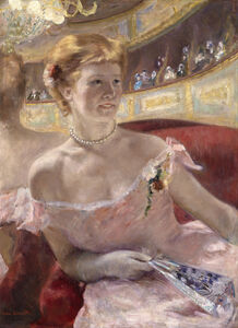 Mary Cassatt, 'Woman with a Pearl Necklace in a Loge Dans la Loge', 1879