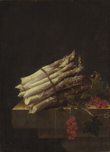 Adriaen Coorte, 'Still Life with Asparagus and Red Currants', 1696