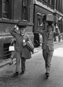 David Farrell, 'Yehudi Menuhin and Maurice Grendron on their way to rehearsals at the Bath Festival', 1964