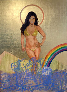Godfried Donkor, 'Madonna in Red & Rainbow ', 2010