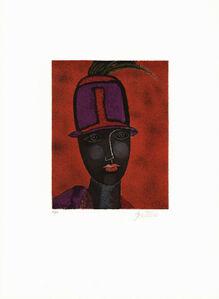 Franco Gentilini, 'Testa con cappello rosso', 1980