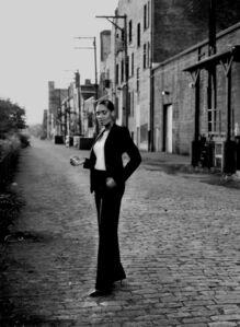 "LaToya Ruby Frazier, 'Woodlawn Street, Braddock, PA (after Helmut Newton ""Le Smoking, Rue Aubriot"" for French Vogue, Paris, 1975)', 2010"