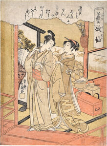 Ippitsusai Bunchô, 'Poetic Immortals for the Arts: Departing', ca. 1768-72