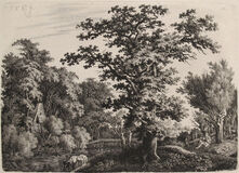 Landscape with an Oaktree alongside a River, a Shepard playing a Flute to the Right