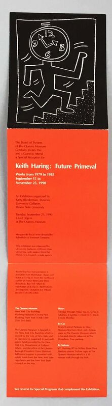 Keith Haring, 'Vintage Keith Haring Future Primeval announcement 1990', 1990, Ephemera or Merchandise, Offset printed museum announcement., Lot 180