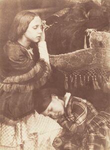 Hill & Adamson, 'The Three Sleepers: Sophia Finlay, Harriet Farnie and Brownie', ca. 1845