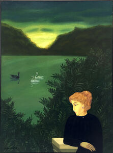Meir Pichhadze, 'Woman and swans', ca. 1990