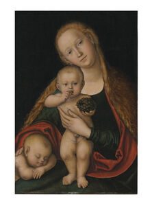 Lucas Cranach the Younger, 'The Virgin and Child with infant Saint John the Baptist sleeping'