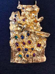 Igael Tumarkin, 'Gold Gilt Bronze Sculpture Pendant Israeli Tumarkin Abstract Modernist Jewelry', 1960-1969