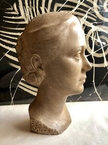 Lovet-Lorski  Boris, 'Art Deco Sculpture Flapper Womans Head Xenozane Marble Stone', 1920-1929